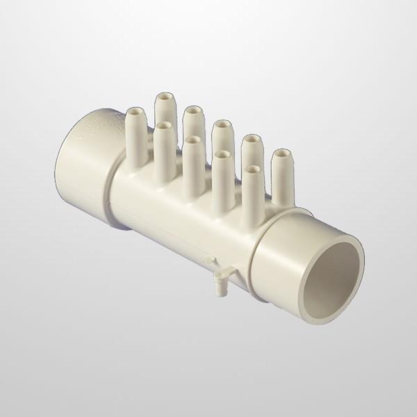 """Colector Aire 10 Salidas (Ø10 mm.) - Conexión Ø1 1/2"""" (USA) - Macho/Hembra (Encolar)"""