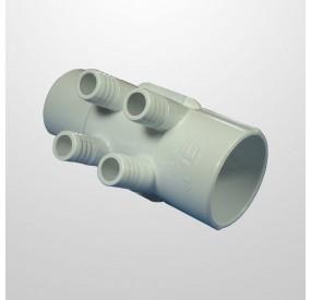 """Colector Agua 4 Salidas (Ø21 mm.) - COnexión 2"""" (USA) Macho/Hembra (Encolar)"""