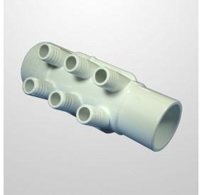"""Colector Agua 6 Salidas (Ø21 mm.) - Conexión 2"""" (USA) Macho/Hembra (Encolar)"""