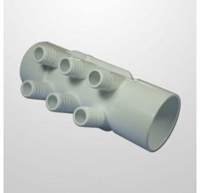"""Colector Agua 6 Salidas (Ø21 mm.) - Conexión 2"""" (USA) Hembra/Hembra (Encolar)"""
