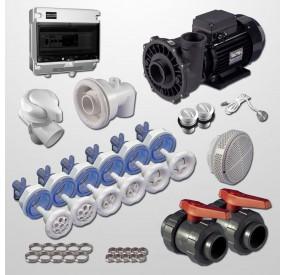 Kit Hidro 6 Jets + NCC + Bomba 3HP + Cuadro digital + Pulsador Digital Inox 316L