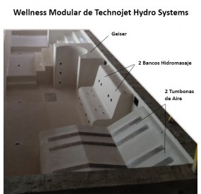 Application example in swimming pool of the different Technojet Wellness Modular products