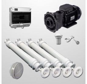 Kit Hidro 4 Polyjets + Bomba 2HP + Pulsador digital (Inox 316L)