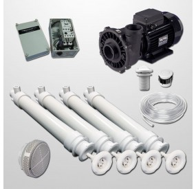 Gunite Pool Hydro Kit 4 Polyjets + 2HP Pump + Pneumatic Control Box