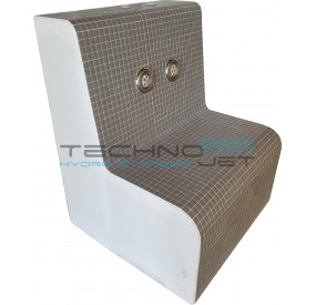 Example of bench finished with gray pool tile and stainless steel / white jets